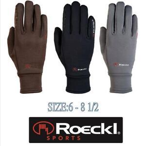 % Roeckl Winter Reithandschuhe Warwick Polartec schwarz grey braun % Dame Warm
