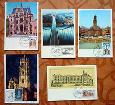 LOT DE 5 CARTES PHILATELIQUES 1° JOUR - VILLES ARCHITECTURE - 1967