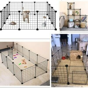 Dog Pet Cage Crate Kennel Metal Folding Iron Fence House Exercise Training cats
