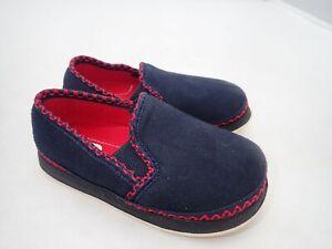 Foamtreads Slip On Loafer Nipper Slipper - Toddler Boy's Size 9, Navy/Red