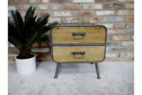 2 Drawer Bedside Chest Lamp Table Retro Industrial Style Storage Cabinet Small