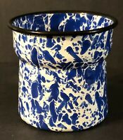 Blue White Splatter Marbled Graniteware Enamelware Vase or Jar Black Rim