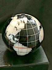 Semi-Precious Stone Small World Globe On Black Silver Heavy Paperweight Ornament