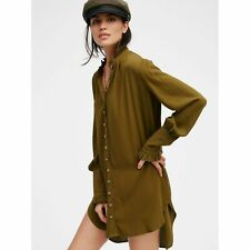 Free People Lieutenant Shirt Dress Olive Military Green Large