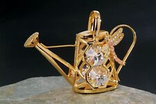"""SWAROVSKI CRYSTAL ELEMENTS """"Watering Can"""" FIGURINE - ORNAMENT 24KT GOLD PLATED"""