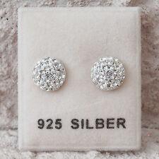 NEU 925 Silber 8mm OHRSTECKER mit STRASSSTEINE kristallklar OHRRINGE halbrund
