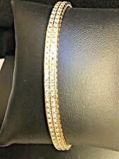 14k Yellow Gold Bracelet Double Row Princess cut CZ  15.5 grams
