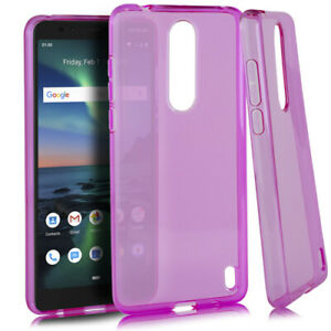 For Nokia 3.1 Plus (Cricket) Soft Rubber Pink Transparent Clear Ultra Thin Case
