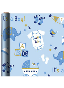 BABY BOY JUMBO WRAPPING PAPER ROLL GIFT WRAP ANY OCCASION 40 SQUARE FEET NEW