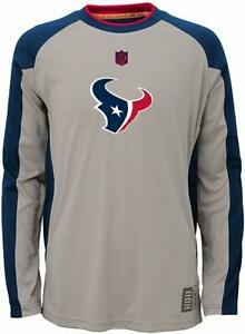 Houston Texans Covert Long Sleeve Youth Boys Dri Tek Shirt $35 New tags