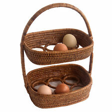 Oval Fine Woven Rattan Wicker Egg Storage Display Basket