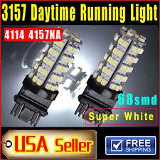 2PCS Xenon White 3157 68-SMD Car DRL Daytime Running LED Bulb Lights 4114 4157NA
