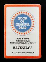 Grateful Dead Backstage Pass New York Giants Stadium NJ NY 6/6/93 6/6/1993 GO GD