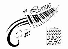 Wandtattoo Keyboard mit Wunschname Note Klavier Sound Musik Tasten Farbe wählbar