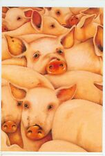 CUTE FARM PIGS BY CHARLOTTE LYNN ART ON POSTCARD  (P37)