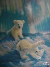 Matted Snowy Day Polar Bear Cubs Foil Art Print~Affordable Art~8x10