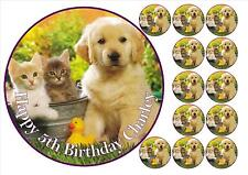 dog duck kitten round icing personalised topper + 12 cupcake toppers