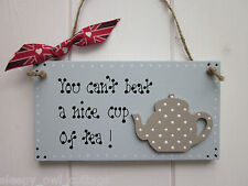 YOU CAN'T BEAT A NICE CUP OF TEA ! KITCHEN TEAPOT CUP SIGN PLAQUE UNION JACK
