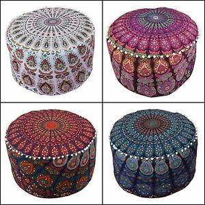 Indian Beautiful Pouffe Cotton Fabric Ottoman Cover Mandala Design Footstool