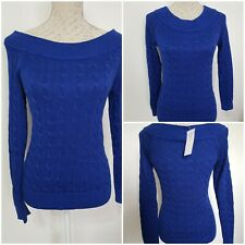 Ralph Lauren Women's Royal Blue Cable Knit ribbed Sweater Pullover Top Size Xs