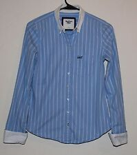 Abercrombie & Fitch Blue & White Striped Button Front Shirt Blouse Top S Small