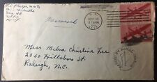 U.S. Navy Censor Cover, posted, May 18, 1945 with two #C25s tied, to Raleigh, NC