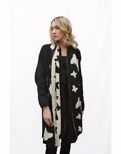 Black and white soft touch knitted long scarf with butterfly print