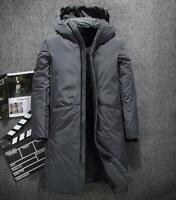 Men's Winter Warm Down Jacket Thick Long Sleeve Coat Padded Parkas Hoodie Casual