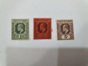 Malaya Straits Settlement King Edward VII Mint 3pcs, CV 50++