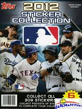 (12)2012 Topps MLB Baseball Stickers 32 Page Collectors Albums+72 Stickers-HOT!