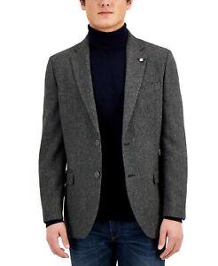 Nautica Mens Modern-Fit Wool Blend Blazer Jacket -Gray/Black Herringbone- 38Reg
