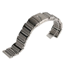 20/22/24mm Black/Silver Mesh Shark Stainless Steel Watch Band Bracelets