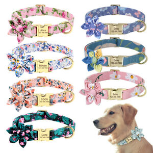 Floral Flower Personalised Dog Collar Nylon Adjustable Cat Puppy Walking Collar