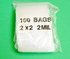 "100 ZIPLOCK BAGS 2x2 CLEAR 2MIL ZIP SEAL RECLOSABLE 2"" x 2"" 100 BAGGIES"