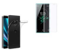 Coque Silicone Transparent + Film Vitre Verre Trempé Incurvé Sony Xperia XZ3