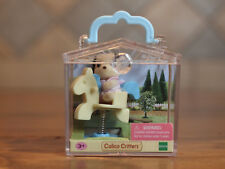 Calico Critters Baby Carry Case w/ Beagle Puppy Dog on Spring Horse
