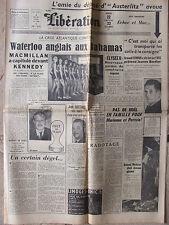 Libération (22/23 déc 1962) Crise Atlantique -Miss France- Aff gare d'Austerlitz
