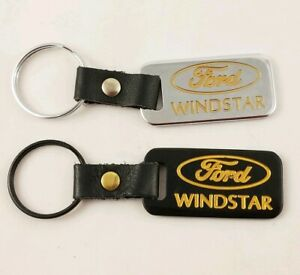 2 Ford Windstar Keychains Black Leather Brass Chrome Key Chains USA Made