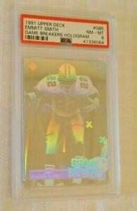 PSA GRADED 8 Upper Deck 1991 NFL Football Hologram Insert EMMITT SMITH Cowboys