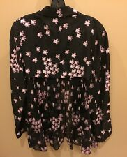 Marni Brown/Black Pink Floral High Low Jacket Top Tunic