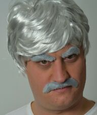 MEN'S GREY FANCY DRESS WIG + MOUSTACHE + EYEBROWS (SELF ADHESIVE) QUALITY. UK
