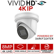 8MP IP 4K POE CCTV DOME TURRET CAMERA UHD WHITE OUTDOOR WIDE 2.8MM DARKFIGHTER