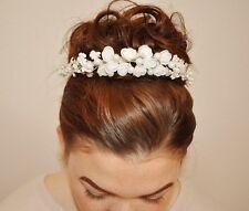 2017 Haarband Haarschmuck Braut Blumen Perlen  ivory / creme