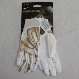 Nike HYPERDIAMOND EDGE Softball Batting Gloves WHITE GOLD 85897 Woman Size SMALL