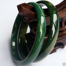 Pair Genuine Natural Green agate jade bangle bracelet big size 68-70 mm +box
