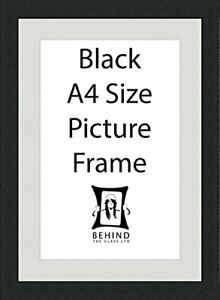 Handmade Black Wooden Picture Frame With Mount - A4 Size by Behind The Glass
