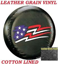 "LINED VINYL SPARE TIRE COVER 29"" 30"" 31"" LEATHER GRAIN Star Spangled Flag Image"