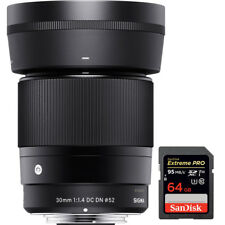 Sigma 30mm F1.4 DC DN Lens for Micro 4/3 Mount + 64GB Memory Card
