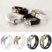 1PC LOVERS COUPLES JEWELRY GIFT FASHION CERAMIC BAND INLAID CUBIC ZIRCON RING O
