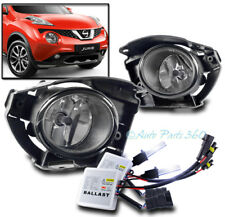 BUMPER DRIVING FOG LIGHTS LAMP CHROME CLEAR LENS W/10K HID+SWITCH FOR 15-16 JUKE